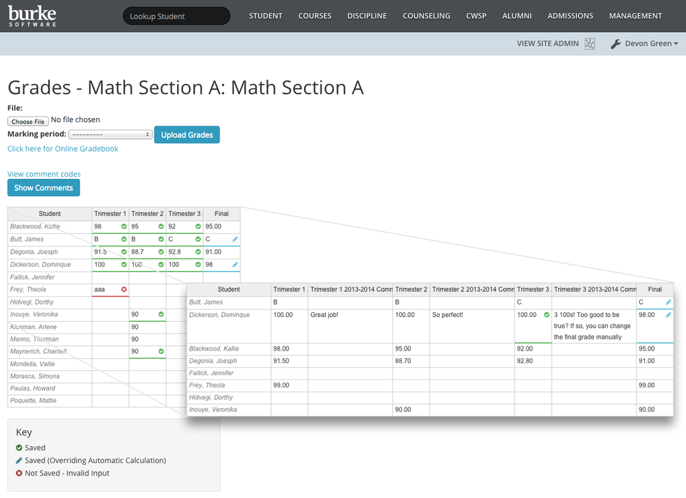 Course Grade Screenshot