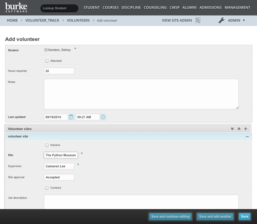 Volunteer module screenshot